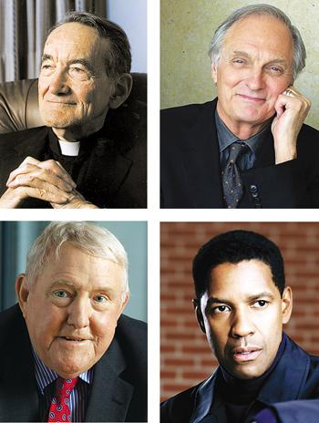 Clockwise from top left:Avery Cardinal Dulles, Alan Alda,  E. Gerald Corrigan, Ph.D., Denzel Washington