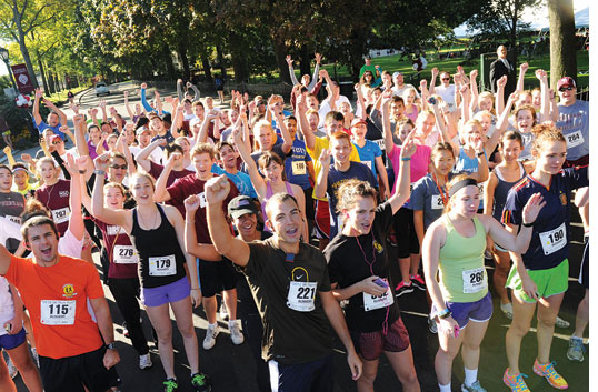At this year's homecoming, approximately 130 members of the Fordham community participated in the first annual 5K Ram Run.  Photos by Chris Taggart