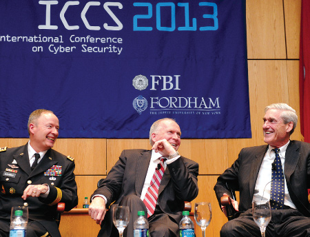 On Aug. 8, 2013, Gen. Keith Alexander, commander of U.S. Cyber Command and director of National Security Agency, joined John Brennan, FCRH '77, director of the Central Intelligence Agency, and Robert Mueller, director of the Federal Bureau of Investigation, to discuss issues of cybersecurity and privacy at the International Conference on Cyber Security.  Photo by Chris Taggart