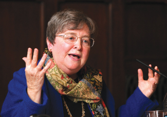 Distinguished Professor of Theology Elizabeth Johnson, the ninth Rita Cassella Jones lecturer, said a theology that views God as immanent in nature could help to right ecological and social injustices.  Photo by Bruce Gilbert