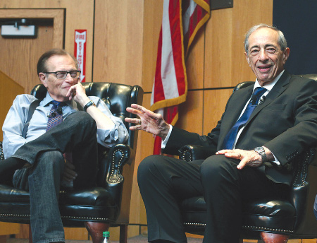 After resisting for 41 years, former New York Governor Mario Cuomo finally watched Francis Ford Coppola's The Godfather with Larry King, on Oct. 20, 2013.  Photo by Bruce Gilbert