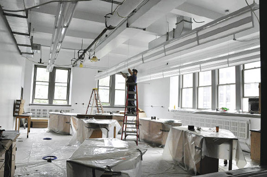 Freeman labs received a facelift this summer (pictured here on Aug. 14), as Fordham moves to upgrade its science facilities. Photo by Patrick Verel