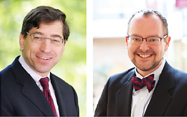 Centers directed by Bruce Green, the Louis Stein Chair in Law (left) and Sean J. Griffith, the T.J. Maloney Chair in Law, have collaborated on a series focusing on the business and ethics of law firm management.  Photo by Chris Taggart (left); Zach Hetrick (right)