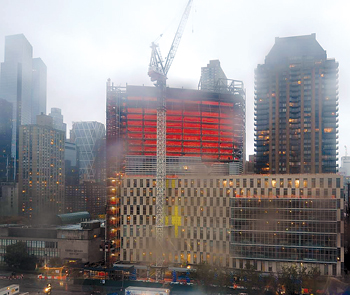 """This photo was tweeted out on Mon., Oct. 29: """"The Lincoln Center campus this evening. #sandy #stillstanding"""""""