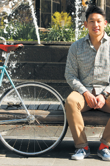 """Andrew Ma said that most of his classmates know him as """"the bike guy"""" for his fixed-gear bike, which takes him everywhere.  Photo by Tom Stoelker"""