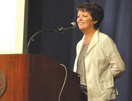 Award-winning fiction writer Alice McDermott greeted the freshman class at Fordham College at Lincoln Center on  Aug. 27, 2013.  Photo by Patrick Verel