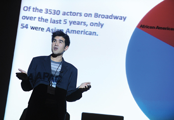 Actor Pun Bandhu reveals the results of AAPAC's report on minority casting in New York City. Photo by Chris Taggart