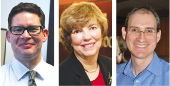 Faculty members say that one way to live the mission is to exemplify Fordham's values for students. From left to right, Gregory Acevedo, Ph.D., Elaine Congress, D.S.W., and Jason Morris, Ph.D. Photos by (l and r) Janet Sassi, (center) Michel Dames