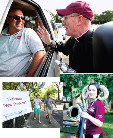 Above, Joseph M. McShane, S.J., president of Fordham, greets new arrivals on campus; below right, sophomore Elle Crane dons Ram horns to welcome freshmen and help them move their belongings in.  Photos by Bruce Gilbert