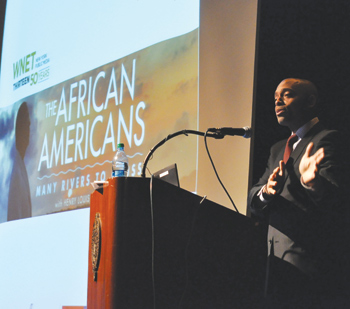 Khalil Gibran Muhammad, director of the Schomburg Center for Research in Black Culture, spoke to educators about teaching African-American history to middle school students. Photo by Janet Sassi