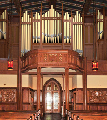 The new organ, seen in this computer rendering, will occupy more space on the wall of the church, with pipes that play the eight lowest notes taking up as much as two feet each in diameter.  Image courtesy of Schoenstein and Co.