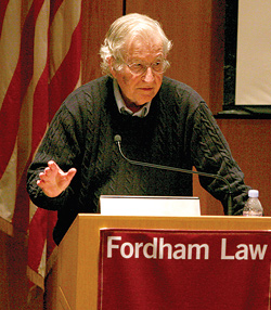 Noam Chomsky spoke at Fordham on April 4. Photo by Tom Stoelker