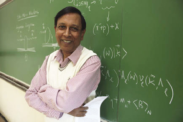 "Work by Quamrul Haider, Ph.D. has led to a new subfield called ""mesic nuclear physics."" Photo by Michael Dames"