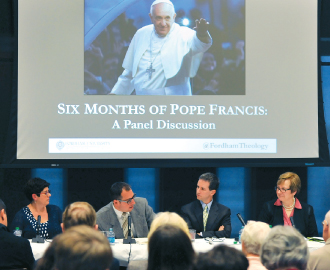 "Panelists at Fordham said Pope Francis has used his first six months in the papacy to ""open doors"" to new kinds of theological, social, and ethical thinking in the church.  Photo by Dana Maxson"