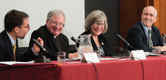 "From left, Massimo Faggioli, Father Drew Christiansen, Sister Simone Campbell, and David Gibson at the Sept. 23 panel on ""The Conversion of Saint John XXIII."" Photo by Leo Sorel"