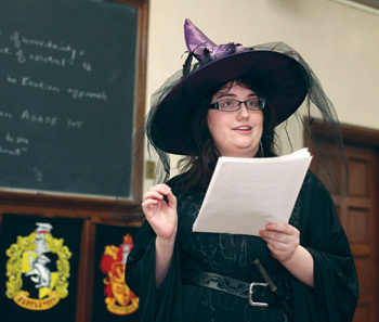"Student Deanna Riggs ""duels"" during a philosophical debate in ""Harry Potter and Philosophy"" Photo by Michael Dames"