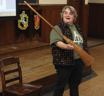 Professor Jude Jones, with broom. Photo by Michael Dames