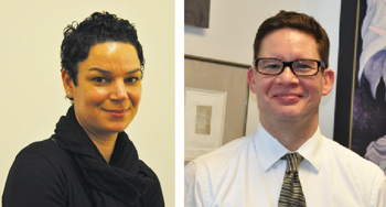 Carina Ray, Ph.D., and Greg Acevedo, Ph.D., are two of 20 Fordham faculty participating in the OpEd project.  Photos by Janet Sassi