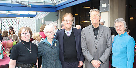 Five professors from Fordham College at Lincoln Center celebrated their retirements at a party held May 10. From left, Kristen Lauer, Ph.D., associate professor of English, 42 years at Fordham; Astrid O'Brien, Ph.D., associate professor of philosophy, 53 years at Fordham; Fred Harris, Ph.D., professor of French and comparative literature, 42 years at Fordham; Charles Kelbley, Ph.D., associate professor of philosophy and adjunct professor of law, 47 years at Fordham; and Anne Mannion, Ph.D., associate professor of history, 53 years at Fordham.