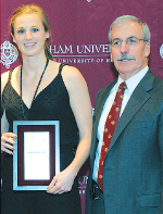 Erin Rooney with Fordham Athletic Director Dave Roach. Photo by Vincent Dusovic