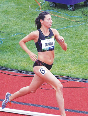 Melissa Salerno, FCRH '08, GSE '10, advanced to the track and field semifinals. Photo courtesy of Melissa Salerno