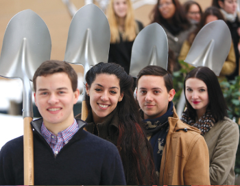 Members of Professor Jo Anna Isaak's class, with shovels at the ready. Photo by Bruce Gilbert