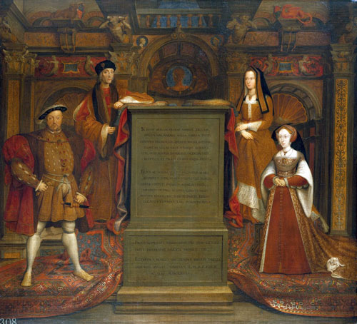 Henry VIII (at left) as depicted in the Whitehall mural by Hans Holbein