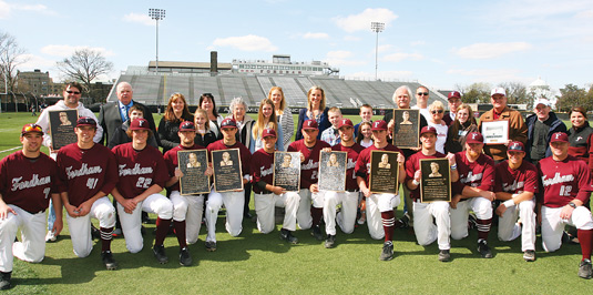 Fordham's baseball team honored eight alumni athletes on April 20 with a pregame plaque ceremony.  Photo by Vincent Dusovic