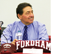 """John Zizzo, FCRH '69, tells  students what is most important  in a career: """"You can go a long way with honesty and integrity,""""  he said.  Photo by Cynthia O'Connor"""