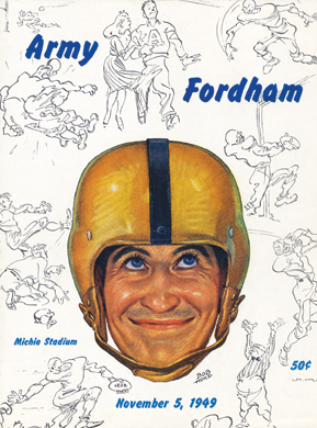An Army football player is depicted on the program cover for the game between Fordham and West Point in 1949.