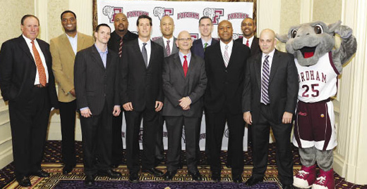 Members of the 1991-1992 Patriot League Championship team gather at the 2011 Tip-Off Dinner. Photo by Chris Taggart