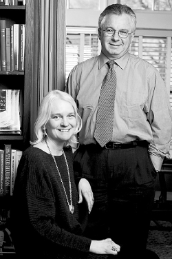 Helen Tartar, pictured with former University press head Robert Oppedisano in 2004. Photo by Peter Freed