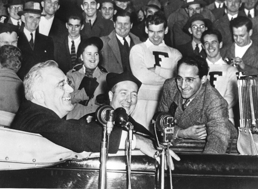 Franklin D. Roosevelt and Robert I. Gannon, S.J. (center) meet Fordham students in 1940. Photo courtesy of Fordham University Archives