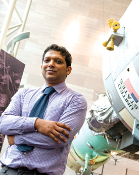 Asif Siddiqi, Ph.D., professor of history, is currently on leave as the visiting Charles A. Lindbergh Chair in Aerospace History at the Smithsonian's National Air & Space Museum in Washington, D.C., where he is working on a book about the global history of space exploration. He is a member of the National Research Council's Committee on Human Spaceflight, tasked by Congress to review the long-term goals of the U.S. human spaceflight program. The committee delivers its report to Congress in June. Photo by Bill Denison