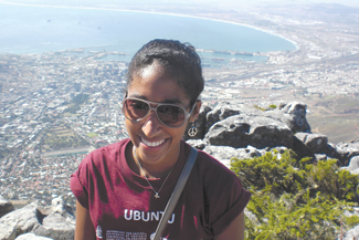 Leilah Peralta, FCRH '13, above, attended the Ubuntu program in 2012, where she blogged about it at http://leilahinsouthafrica.blogspot.com.  Photo courtesy Leilah Peralta