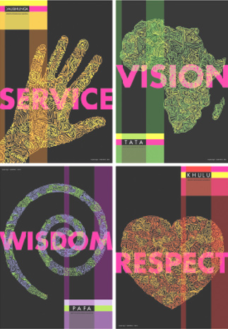 Prints from the Mandela Ubuntu Series, designed by Jacques Lange for the Mandela Poster Project© and displayed at the University of Pretoria last summer when the Ubuntu program and others celebrated the activist's 95th birthday.