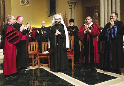 His Beatitude Major Archbishop Sviatoslav Shevchuk is cheered at the University Church. Photo by Bruce Gilbert