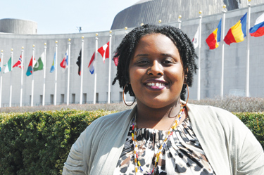 GSS student Anjanae Wilson has benefited from Fordham's relationship with the United Nations, acting as a youth representative for a Belgium-based NGO, Close The Gap. Under a new Fordham-UN association, more students will have a chance to do the same.  Photo by Janet Sassi