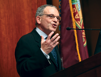 Provost Stephen Freedman, Ph.D., welcomes the 2012 Venture Fellows at a Fordham ceremony. Photo by Bruce Gilbert