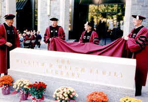 The official opening of the William D. Walsh Family Library in 1997. Walsh is at far left. (Photo courtesy University Archives)
