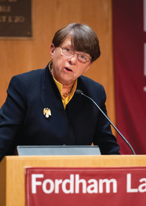 "Mary Jo White, chair of the SEC, said Congress should avoid being ""prescriptive"" in enacting legislation aimed at the agency.  Photo by Dana Maxson"