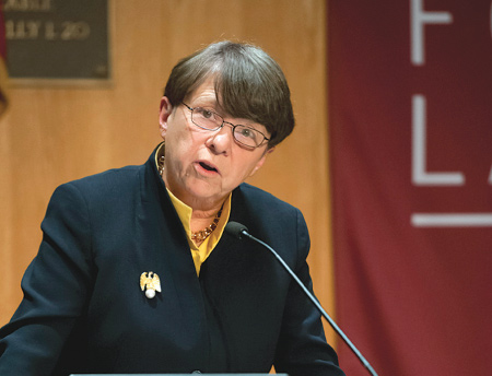 Mary Jo White, chairwoman of the U.S. Securities and Exchange Commission, delivered the 14th Annual A. A. Sommer, Jr. Lecture on Corporate, Securities, and Financial Law at Fordham Law School on Oct. 4, 2013.  Photo by Dana Maxson