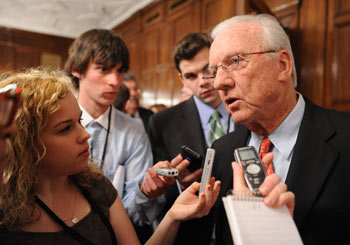 Baseball Hall of Famer Al Kaline speaks with reporters after accepting the Vin Scully Lifetime Achievement Award in Sports Broadcasting on behalf of legendary baseball voice Ernie Harwell. Photo by Chris Taggart
