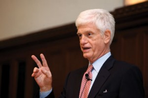 Mario Gabelli (GSB '65) addresses students in Keating Auditorium on Dec. 1. Photo by Bruce Gilbert