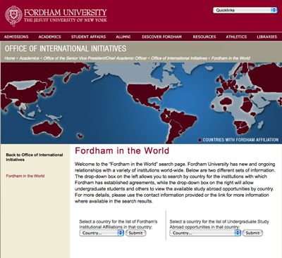 """""""Fordham in the World"""" allows users to find the University's international linkages with ease. Click here to go to Fordham in the World."""