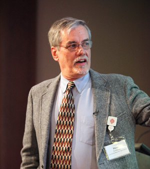 David Robinson, S.J., explains how Jesuits have used technology over several centuries to further their mission. Photo by Bruce Gilbert