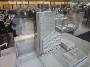 A scale model of the new Law School and residence hall, featured at the post-groundbreaking dinner held at Lincoln Center for the Performing Arts.
