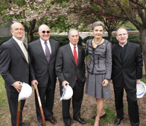From left to right: Michael M. Martin, dean of Fordham Law; the Hon. Dennis G. Jacobs; Mayor Michael Bloomberg; the Hon. Loretta A. Preska (LAW '73); and Joseph M. McShane, S.J., president of Fordham.