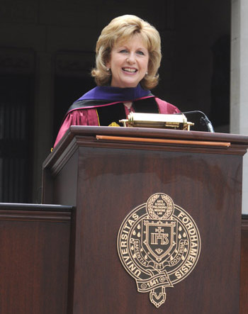 Mary McAleese, president of Ireland, tells the Class of 2010 that the world needs men and women of integrity, who are determined to make things better. Photo by James Higgins