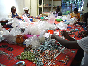 This bead-making collective in a small village in Kenya was among the woman-run businesses Fordham CBA students visited on a 2006 trip in which they researched microfinance loans.  Photo courtesy of Kate Combellick, Ph.D.